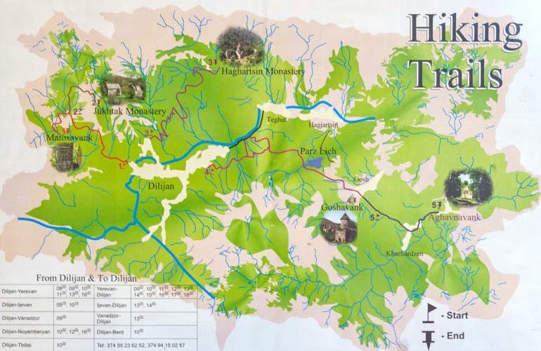 карта пешеходных маршрутов Дилижана